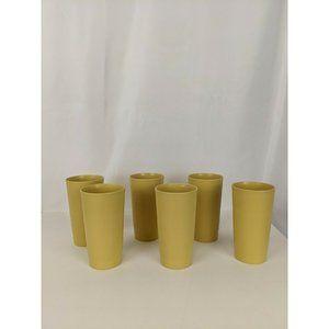 6 VINTAGE TUPPERWARE TUMBLER 873-22 CUPS ~ HARVEST